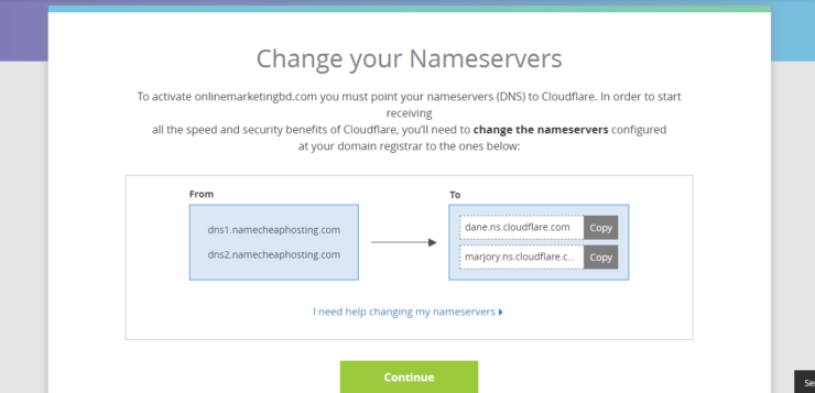 Points your domain to the CloudFlare name server